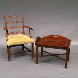 Chippendale Mahogany Ribbon-back Armchair and Butler