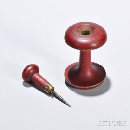 Shaker Bittersweet/Red-painted Awl and Apple Core Spool