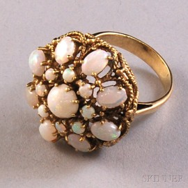 14kt Gold and Opal Cluster Ring