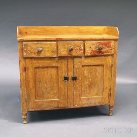 Country Yellow-painted Pine Cupboard