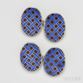 Sterling Silver and Enamel Cuff Links, Tiffany & Co.