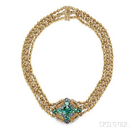 Arts & Crafts 18kt Gold, Tourmaline, and Sapphire Necklace, Tiffany & Co.