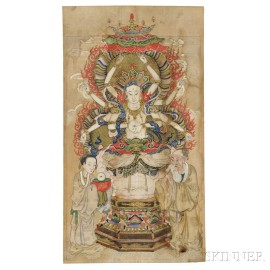 Buddhist Painting Depicting Avalokitesvara with Eight Arms and Eyes