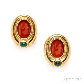18kt Gold and Hardstone Intaglio Earclips