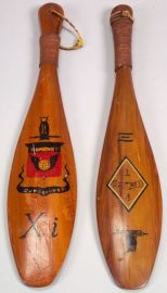 Painted Wooden Wesleyan College Fraternity Paddles