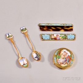 Two Continental Enameled and Gold-washed Silver Vanity Items and Two Russian Enameled Souvenir Spoons.