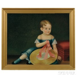American School, 19th Century      Portrait of a Girl in a Blue Dress and a Pink-ribboned Hat
