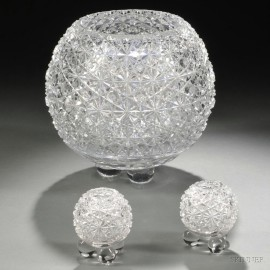 Three American Colorless Cut Glass Rose Bowls