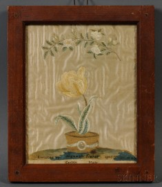 Floral Silk Needlework Picture