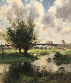 John Appleton Brown (American, 1844-1902)      Landscape with Orchard