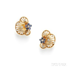 18kt Gold, Sapphire, and Diamond Earclips, Cartier