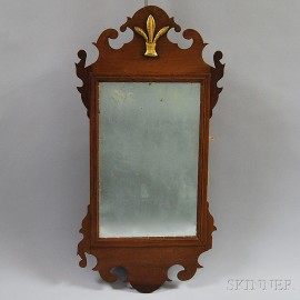 Small Chippendale Mahogany Scroll-frame Mirror