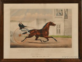 Currier & Ives, publishers (American, 1857-1907)       The Celebrated Trotting Mare Lucy, Passing the Judge