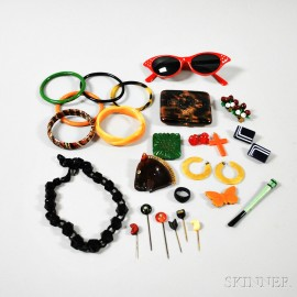 Group of Bakelite and Lucite Jewelry and Accessories
