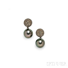 18kt Gold, Tahitian Pearl, and Brown Diamond Day/Night Earrings