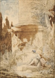 Attributed to Hubert Robert (French, 1733-1808)      Seated Bather Beside a Classical Column