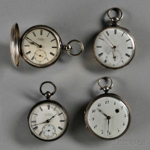 Four Silver English Key-wind Watches