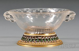 Sold for: $201,450 - Fine Yellow Gold, Cloisonne Enamel, and Stone-mounted Carved Rock Crystal Bowl