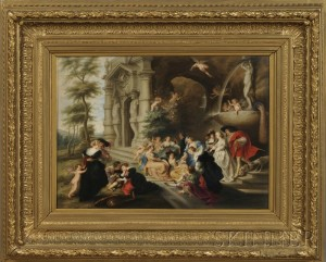 Sold for: $44,438 - KPM Porcelain Plaque Depicting The Garden of Love