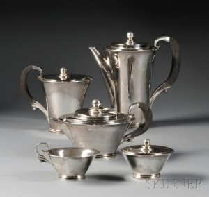 Sold for: $16,590 - Georg Jensen Pyramid Coffee Service