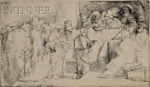 Sold for: $29,625 - Rembrandt van Rijn (Dutch, 1606-1669)      Christ Disputing with the Doctors:  A Sketch