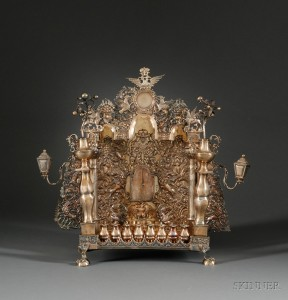 Sold for: $189,600 - Russian Gold-washed Silver Temple-form Hanukkah Lamp