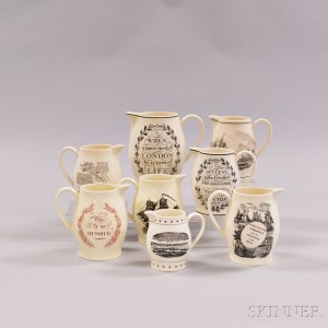 Eight Wedgwood Queen's Ware Transfer-decorated Jugs