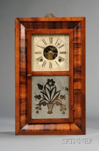 Mahogany Miniature Ogee Clock by Chauncey Boardman
