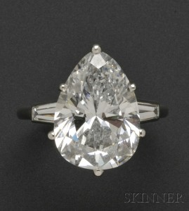 Sold for: $583,500 - Platinum and Diamond Solitaire, Mounted by Cartier