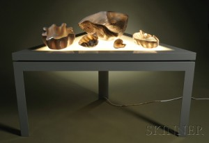Sold for: $9,720 - Dale Chihuly Macchia Bowl Set and Custom Light Table
