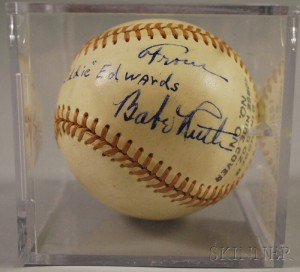 Sold for: $5,036 - Babe Ruth Autographed Baseball