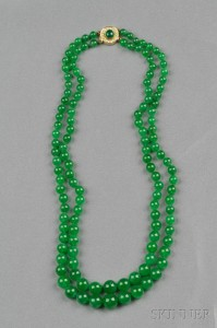 Sold for: $348,000 - Double Strand Jadeite Bead Necklace
