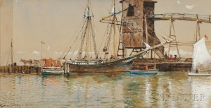 Edmund Darch Lewis (American, 1835-1910)      Harbor Scene with Ship