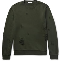 Sandro Distressed Loopback Cotton-jersey Sweatshirt - Army green