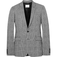 Sandro Grey Slim-fit Prince Of Wales Checked Wool And Cotton-blend Suit Jacket - Black