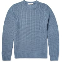 Sandro Ribbed Merino Wool-blend Sweater - Blue