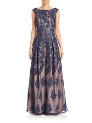 Aidan Mattox Lace Boatneck Gown