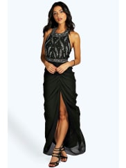 Boohoo Boutique Embellished Ruched Maxi Dress black