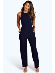 Boohoo Square Neck Textured Jumpsuit navy
