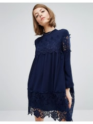 Fashion Union Smock Dress With Lace Inserts - Navy