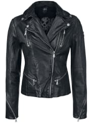 Gipsy Happy Silver Girls leather jacket black