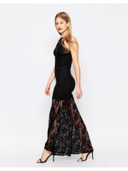 Honor Gold Lace Maxi Dress - Black