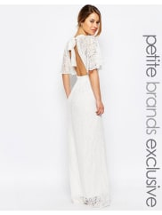 John Zack All Over Lace Maxi Dress With Keyhole Front And Open Back Detail - White