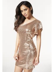 Justfab Justfab Dresses One Shoulder Sequin Dress Womens Gold Size M