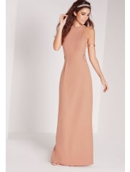 Missguided Mesh Insert Maxi Dress Nude