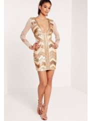 Missguided Premium Embellished Chevron Plunge Bodycon Dress Gold