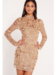 Missguided Premium High Neck Embellished Bodycon Dress Gold
