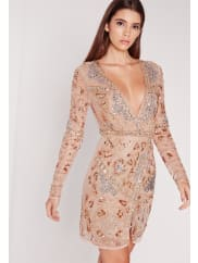 Missguided Premium Long Sleeve Embellished Wrap Mini Dress Gold