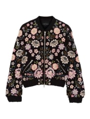 Needle & Thread Embellished Chiffon Bomber Jacket - Black