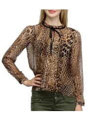 Oxolloxo Brown Polyester Printed Top